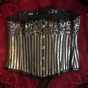 Other - Striped Silver Underbust Corset Size 24